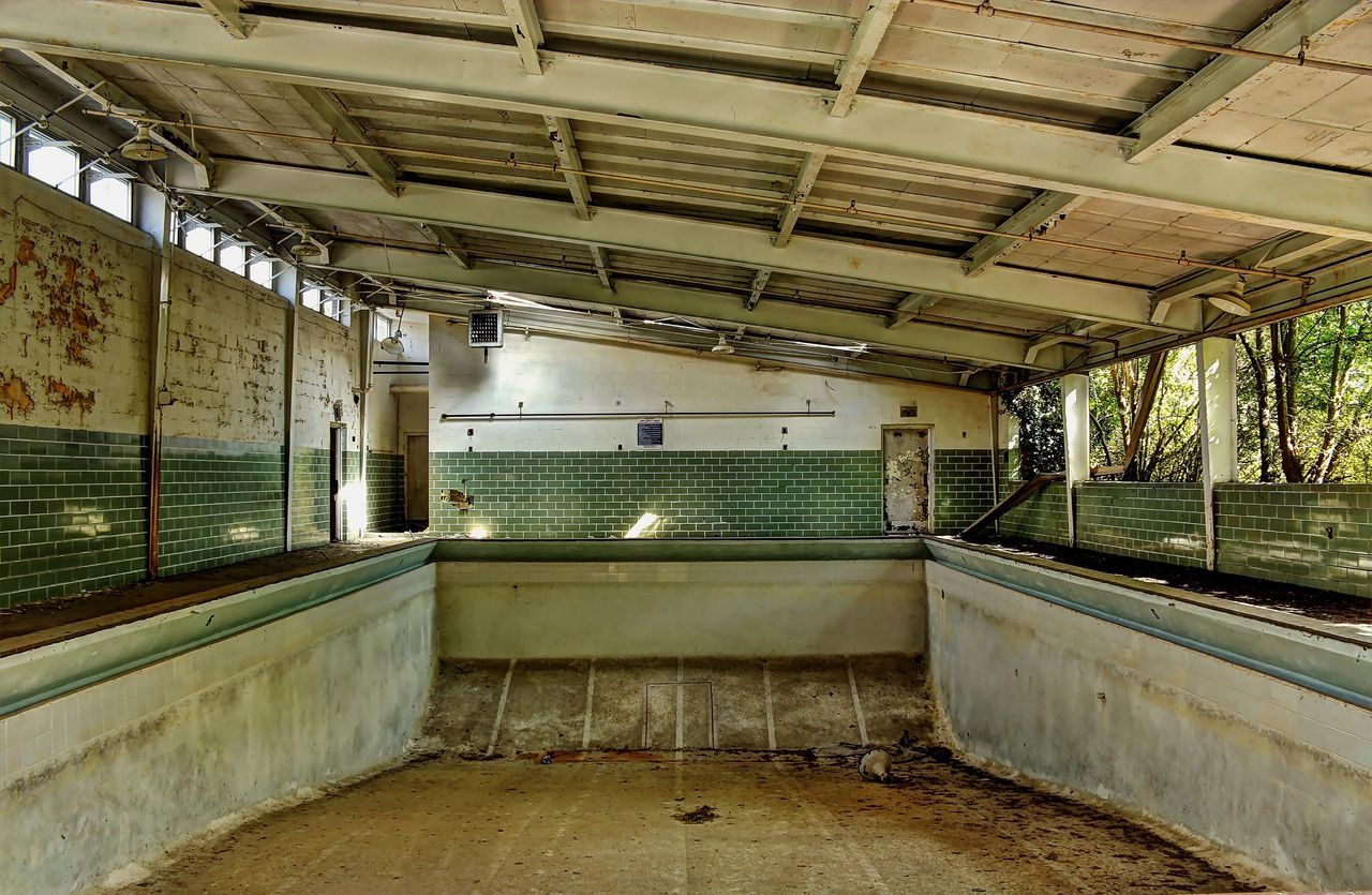 Covered abandoned swimming pool