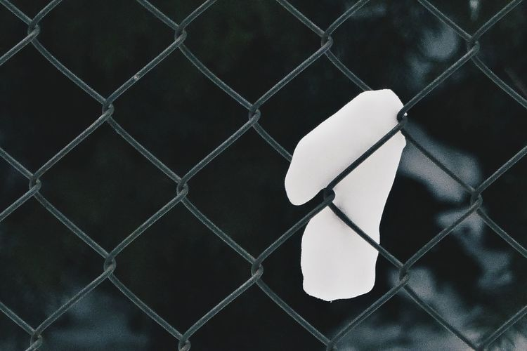 Close-up of number on chainlink fence