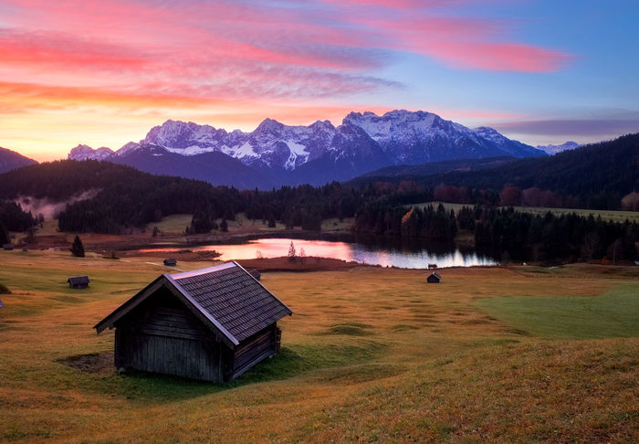 Bavaria Travel Architecture Beauty In Nature Building Exterior Built Structure Day Grass Lake Landscape Mountain Mountain Range Nature No People Outdoors Scenics Sky Sunrise Sunset Tranquil Scene Tranquility Tree Wagenbrüchsee Water