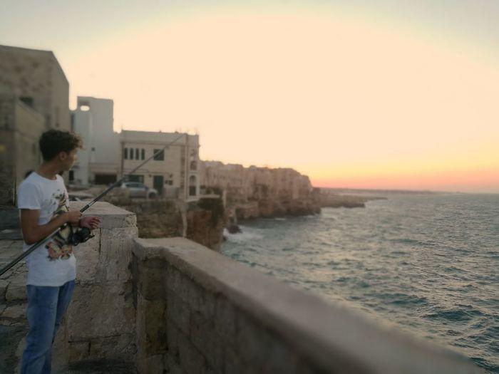 Sea View Sea Village Seaside Fishing Sunset Fisher Italy Boy Atmosphere