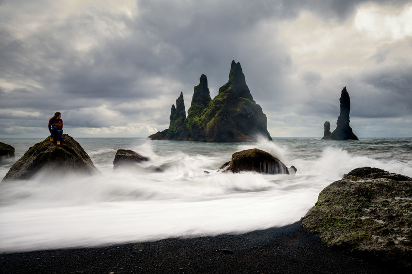 Basalt rock formations Troll toes on black Vik, Iceland Ice Iceland Aquatic Sport Beach Beauty In Nature Blurred Motion Cliff Cloud - Sky Land Long Exposure Motion Nature Outdoors Power In Nature Reynisdrangar Road Trip Rock Rock - Object Scenics - Nature Sea Sky Summer Water Wave