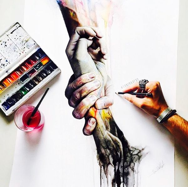 Amazing artist! Painting ArtWork Arms Reach Out Drawing Art, Drawing, Creativity Take My Hand Take My Hand And Walk With Me !
