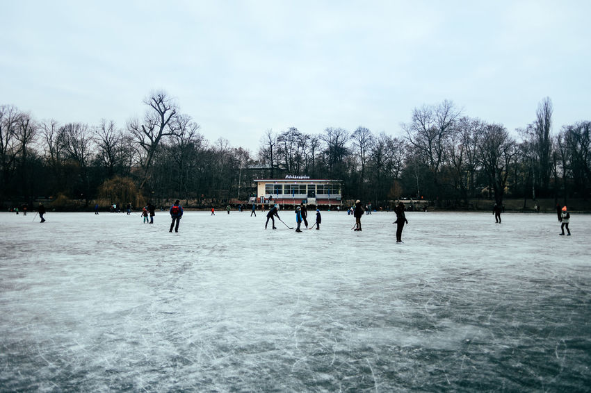 In the middle of Weißer See Bare Tree Berlin Photography Berliner Ansichten Branch Cold Cold Days Cold Temperature Cold Winter ❄⛄ Day Hockey Ice Ice Hockey Ice Skating Lake Lake View Leisure Activity Lifestyles Outdoors People Playing Sky Snow Tree Winter Winter Sport