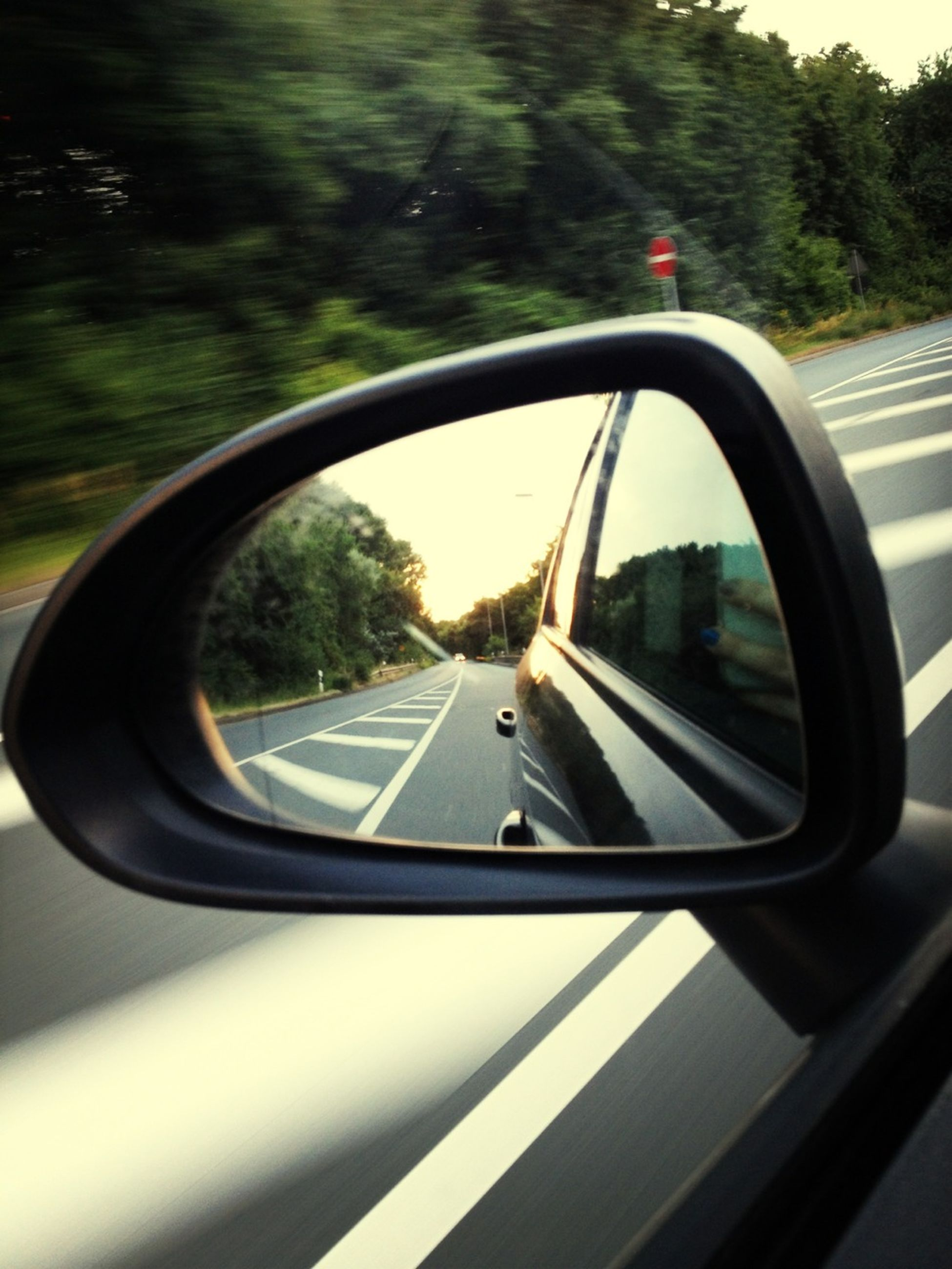 transportation, mode of transport, land vehicle, car, side-view mirror, vehicle interior, glass - material, reflection, road, transparent, travel, windshield, tree, car interior, on the move, part of, road marking, road trip, window, street