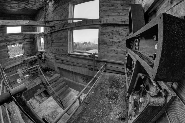 High angle view of old building interior