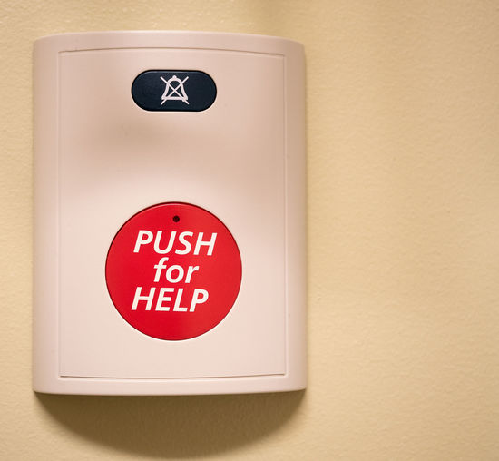 HELP Close-up Communication Day Fire Alarm Indoors  No People Push Button Red