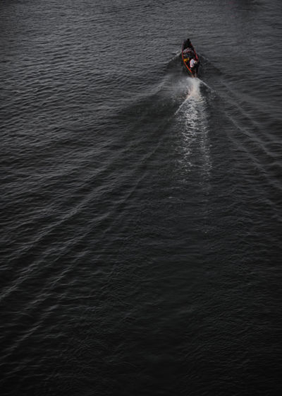 High angle view of person on sea