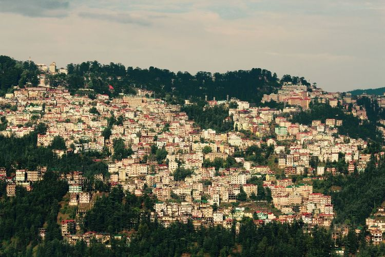 Architecture Building Exterior Built Structure City Cityscape Day Hills Himachalpradesh House On The Hill India Mycity Nature No People Outdoors ShimlaDiaries Sky Stacked Up Tree