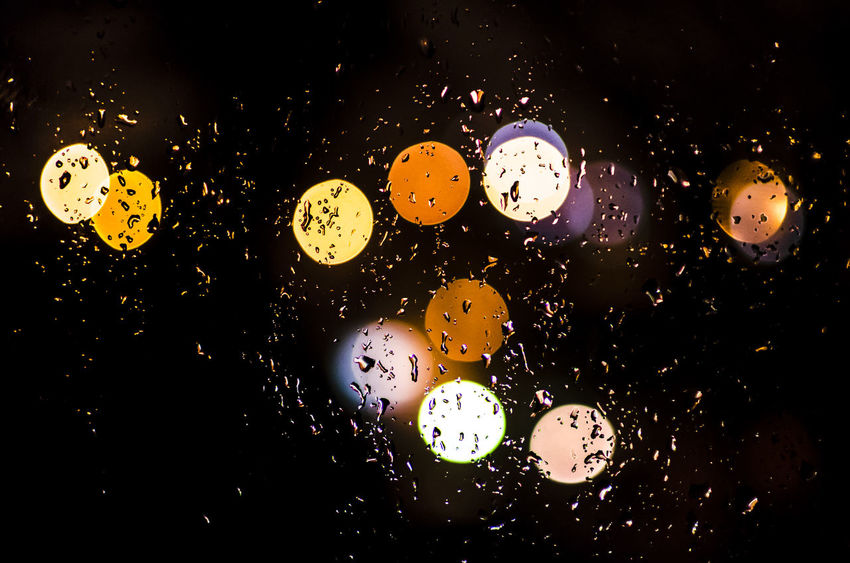 Lights through the window Abstract Close-up Colorful Drop Lights No People Rain RainDrop Window View