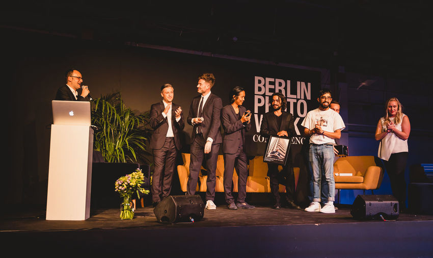 Berlin Photo Week 2018 Berlin Photo Week BPW18 EyeEem Men Group Of People Standing Real People Women Night Adult Togetherness Casual Clothing Young Adult Lifestyles Young Men People Emotion Young Women Group Friendship Leisure Activity Full Length Males
