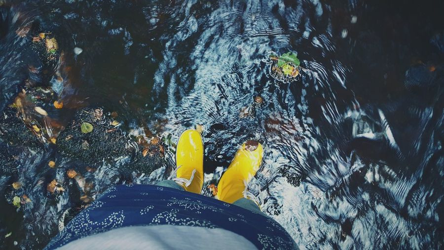 Rainboots Yellow Waterflow Stream Naturehipster Enjoying Nature