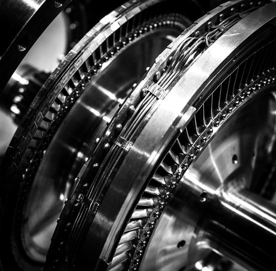 Black And White Close-up Engineering Jet Engine Metal