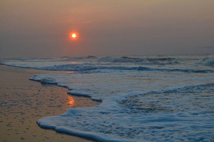 Beach Charleston Folly Beach Ocean Sea South Carolina Summer Sunrise