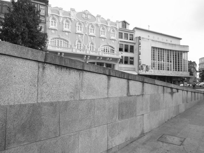 BeW Oporto, Portugal Architecture Black And White Building Building Exterior Built Structure City Day Footpath History Low Angle View Nature No People Outdoors Railing Residential District Sky The Past Wall Wall - Building Feature Window