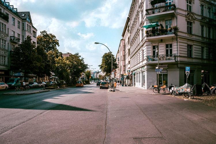 Empty road in city