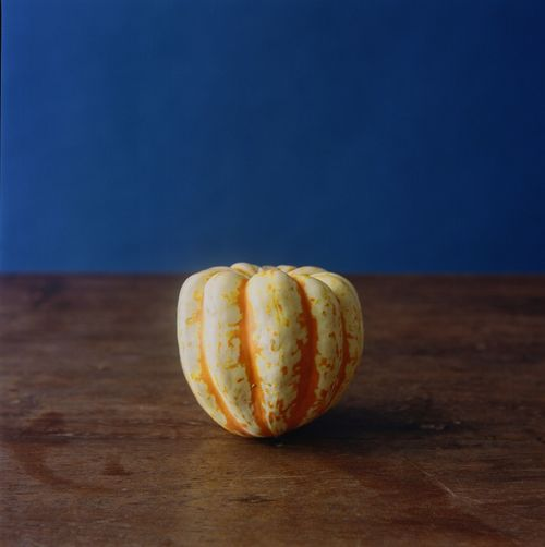 Pumpkin Film Photography Kodak Pumpkin Food And Drink Food Healthy Eating Wellbeing Freshness Still Life No People Indoors  Table Wood - Material Blue Single Object Close-up Simplicity Organic Vegetable