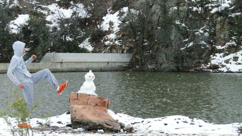 Snow Winter Cold Temperature Outdoors Nature Snowman Snowman⛄ Kick