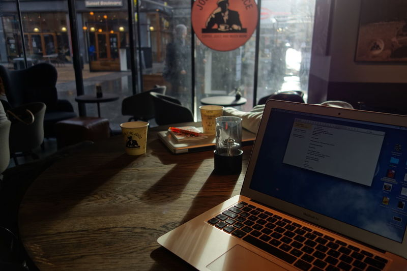 Barista Cafe Cafe Time Cafeteria Coffee Shop Coffeeshop Computer Hipster Indoors  Laptop MacBook Macbook Air Table Working Working Inside Writing