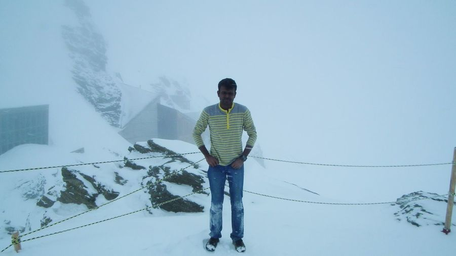Winter Cold Temperature Front View Snow One Person Standing Outdoors Day Full Length Only Men Men One Man Only People Nojacket Subzero Freezing Cold Freezing Cold ❄ - 15.C Below Zero Jungfrau - Top Of Europe Jungfrau Done That. Swizerland