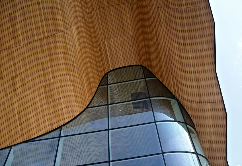 Art's Centre Architectural Detail Composition, Curved Glass Glass Reflection Materials Public Building Shapes And Forms Timber