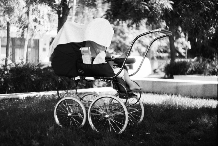 Side view of pram at park