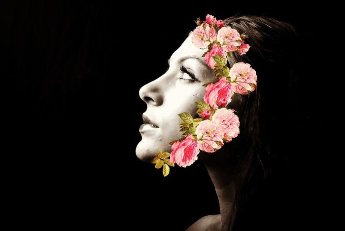 By plucking her petals, you don't know the beauty of the flower Flowers Edit Picsart Hey  Tagsforlikes Black Blackandwhite Beautiful Woman Adult One Young Woman Only Black Background Face Paint Human Face Studio Shot Headshot Fashion Stage Make-up Glamour Lipstick Beauty