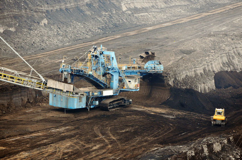 aerial view in coal mine with bucket wheel excavator. destruction of nature. fossil energy. Industry Mining High Angle View Fuel And Power Generation Coal Mine Quarry Coal Outdoors Transportation Tagebau Braunkohle Braunkohletagebau Fossil Energy Bucket Wheel Excavator Schaufelradbagger Construction Machinery Fossil Fuel Machinery Environmental Issues Equipment