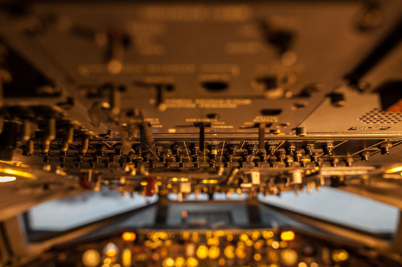 A lot of control levers in aircraft cockpit with selective focus EyeEm Best Shots EyeEm Selects EyeEmBestPics EyeEmNewHere Close-up Day Illuminated Indoors  No People Selective Focus Technology Tilt-shift