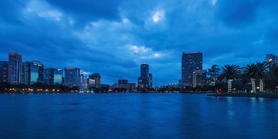 Orlando skyline Lake Eola Park Orlando USA Architecture Building Exterior Built Structure City City Life Cityscape Cloud - Sky Downtown District Florida Illuminated Modern Nature Night No People Outdoors Sea Sky Skyscraper Travel Destinations Urban Skyline Water Waterfront Been There.