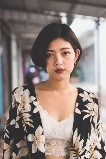 Portrait of sensuous young woman