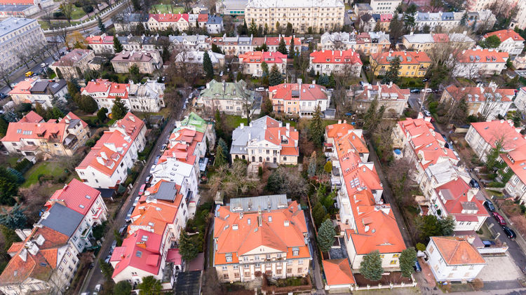 Aerial drone view from above of Warsaw city district with old residential houses City Drone  Roof Warsaw Aerial View Architecture Building Exterior City Cityscape Community District Dji Dronephotography Estate Historic House Outdoors Residential District Roof Suburban Suburbs Tourism Urban Urban Skyline View From Above Go Higher