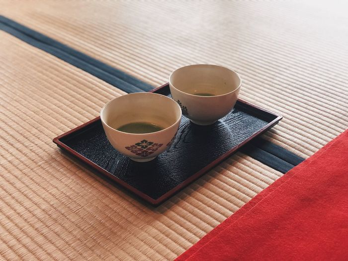 Mat Tatami Tea Matcha High Angle View Indoors  Food And Drink Still Life Drink No People