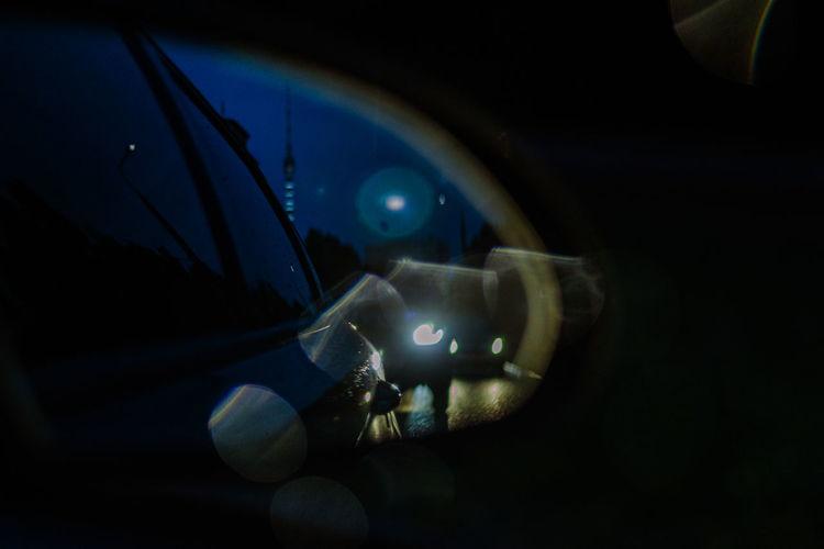 Close-up of illuminated car