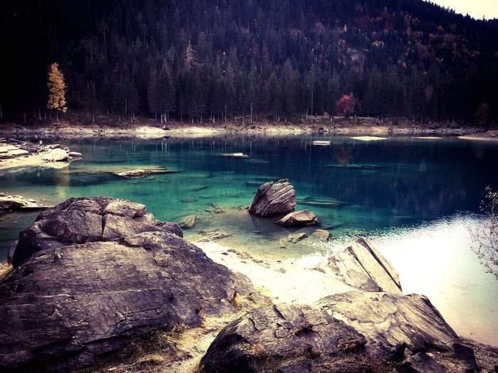 Blue Waters Travel Destinations Switzerland Graubünden Schweiz Grischun Caumasee Water Nature Beauty In Nature Tranquility No People Scenics - Nature Tranquil Scene Idyllic Lake