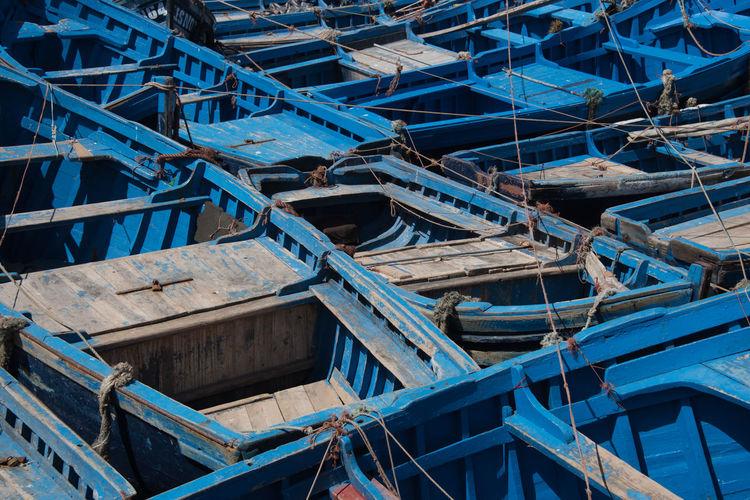 Full frame shot of blue boats moored at harbor