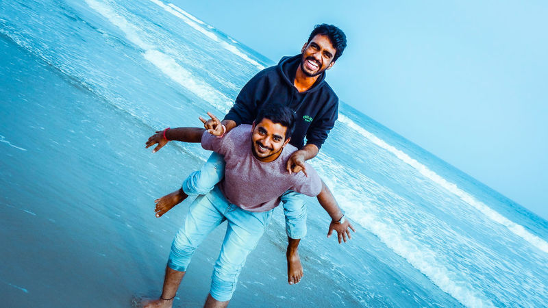 fun in beach Water Sky Cerulean Blue Fun Happiness Two People Only Men Adult Cheerful Smiling EyeEmNewHere