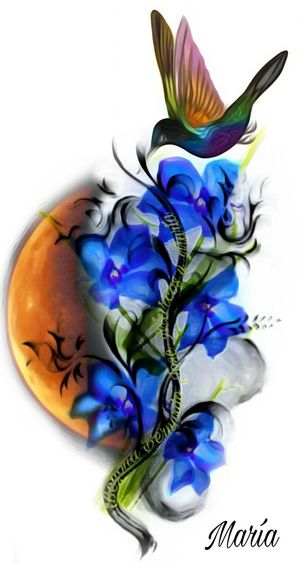 Multi Colored Design Creativity Flower Moon Bird Artwork By Me Edited By Me