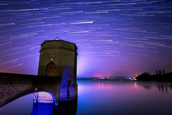 Chew Valley Lake - Looking south, can anyone spot Jupiter? Architecture Astronomy Beauty In Nature Building Exterior Built Structure Canon 6D Galaxy Illuminated Lake Nature Night No People Outdoors Reflection Reflection Samyang 20mm Sky Space Star - Space Star Trail Startrails Tower Travel Travel Destinations Water