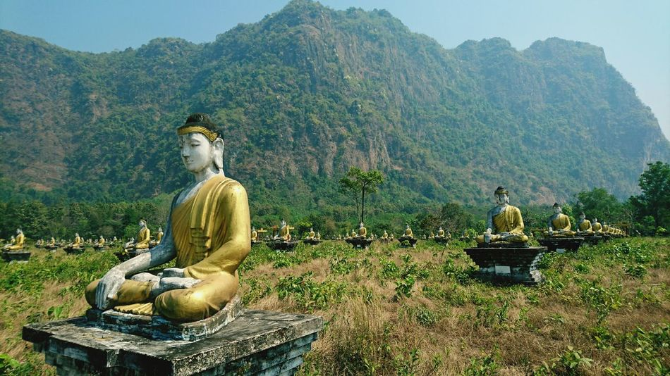 More Buddha in interesting places. Here is a field full of them. Silvia In Myanmar Buddhism Buddha Nature Buddhist Statue Buddha Statue