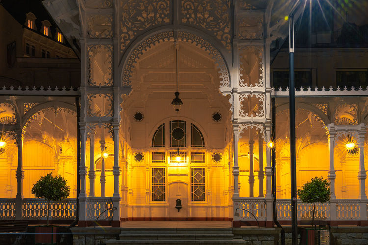 Interior of illuminated temple building