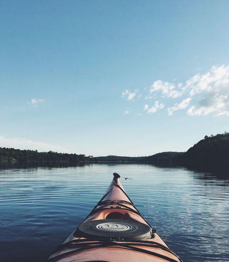 Kayak on lake in canada