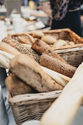 High angle view of bread in baskets