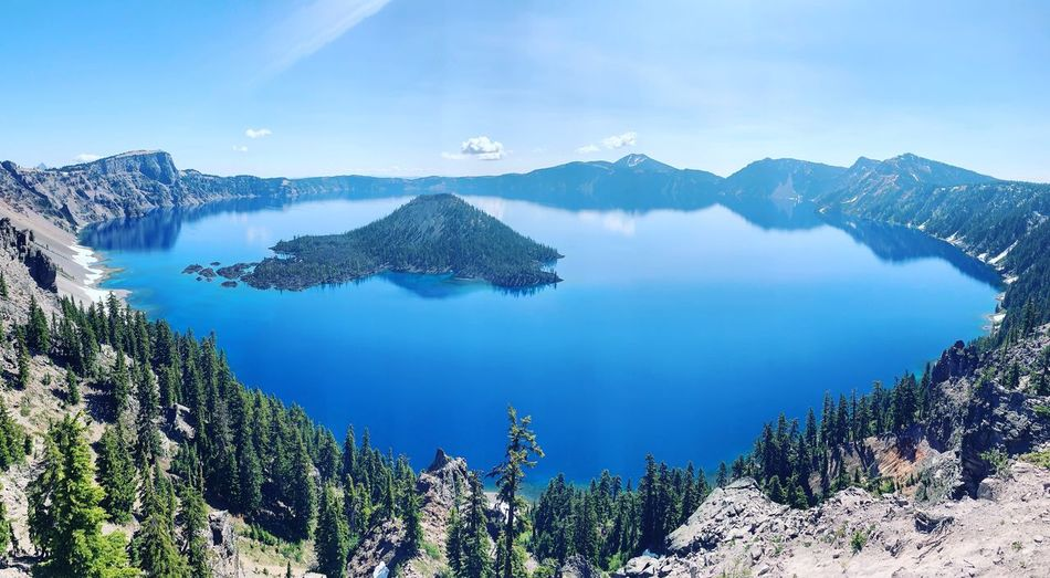 Glacier Lake Crater Lake Oregon Crater Lake National Park Crater Lake Scenics - Nature Beauty In Nature Tranquility Mountain Tranquil Scene Tree Water Non-urban Scene Plant Sky Lake Nature Day Mountain Range Idyllic High Angle View No People Land Remote Outdoors