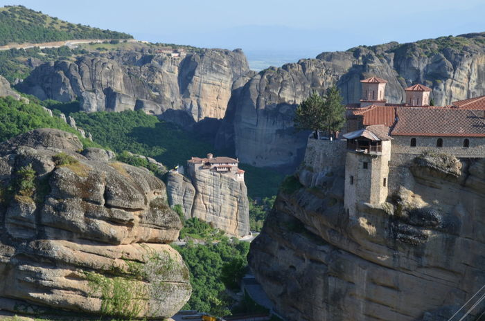 Abbey Beauty In Nature Cloister Famous Place Greece Landscape Meteora Meteora Greece METEORA, GREECE Non-urban Scene Rock Rock Formation Rock Formation Rocks Scenics Tourism Tranquil Scene Tranquility Travel Destinations