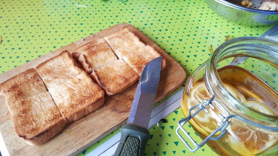 Thost & hony lemon +hony Lemon +thost High Angle View Table Still Life Close-up Brown Bread Knife