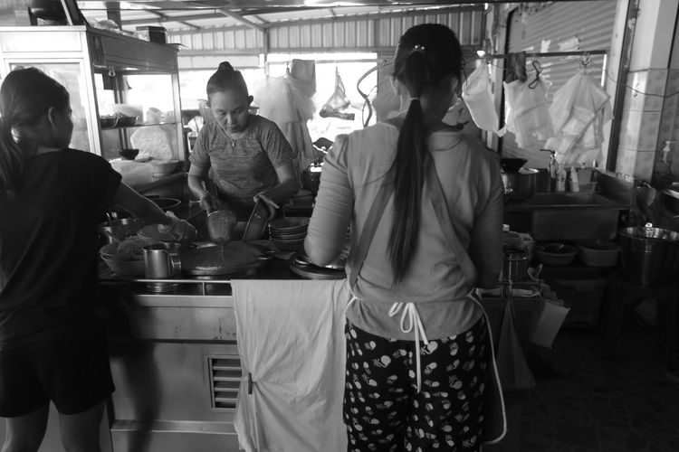 Noodles Phuket Travel Black And White Real People Rear View Standing Women