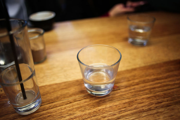 Close-up of drinking glasses on table