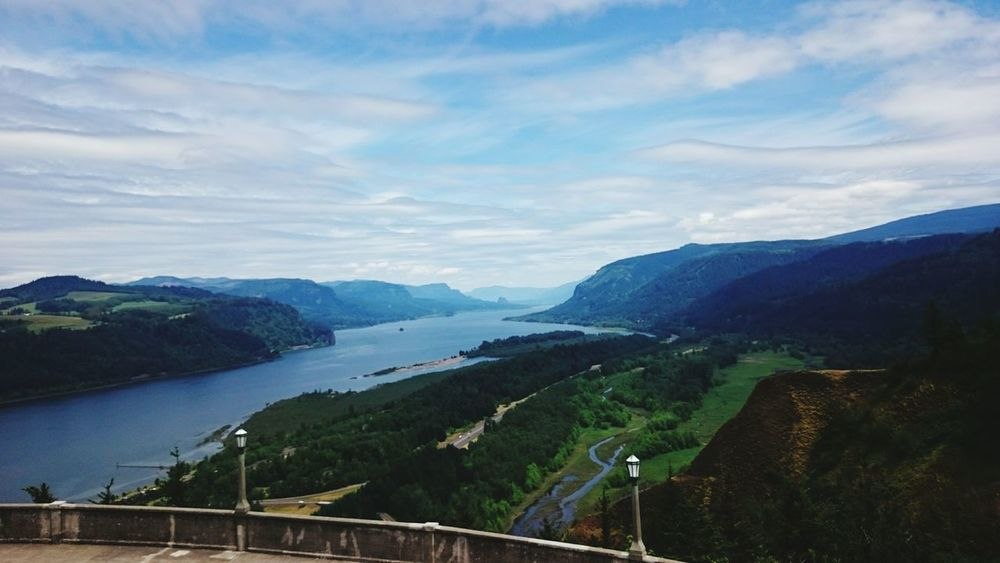 View Scenic Lookout Vista House Columbia River Gorge Columbia River Pacific Northwest  River Evergreens Cascadia Oregon Nature Expansive