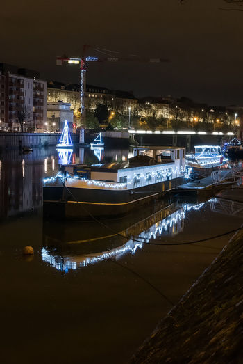 Architecture Boat Building Exterior Illuminated Mode Of Transport Moored Nature Nautical Vessel Night No People Outdoors Reflection Sky Transportation Water Waterfront