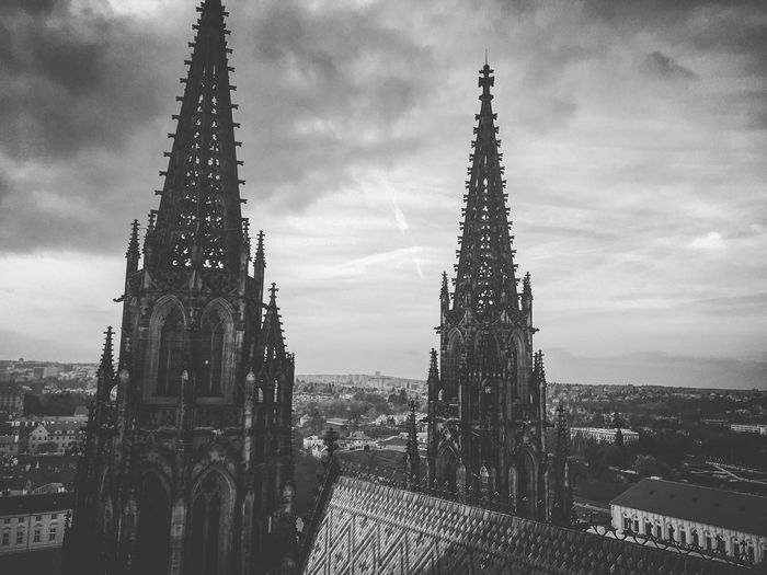 High Section Of St Vitus Cathedral Against Cloudy Sky